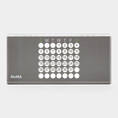 MoMA ewiger Kalender Design Tischkalender, Acryl, grau