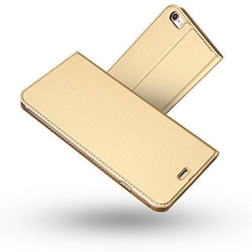 Radoo iPhone 6S Hülle,iPhone 6 Hülle, Premium PU Leder Handyhülle Brieftasche-Stil Magnetisch Klapphülle Etui Brieftasche Hülle Schutzhülle Tasche für Apple iPhone 6/6S 4.7 Zoll (Gold)