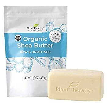 Plant Therapy Organic African Shea Butter Raw Unrefined USDA Certified16 ounce Bar 100% Pure Natural Moisturizer For Dry Cracked Skin Best for DIY
