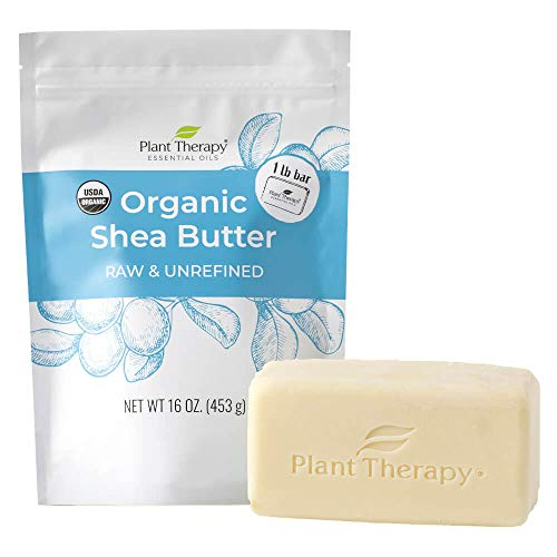 Plant Therapy Organic African Shea Butter Raw, Unrefined USDA Certified16 ounce Bar 100% Pure, Natural Moisturizer For Dry, Cracked Skin, Best for DIY