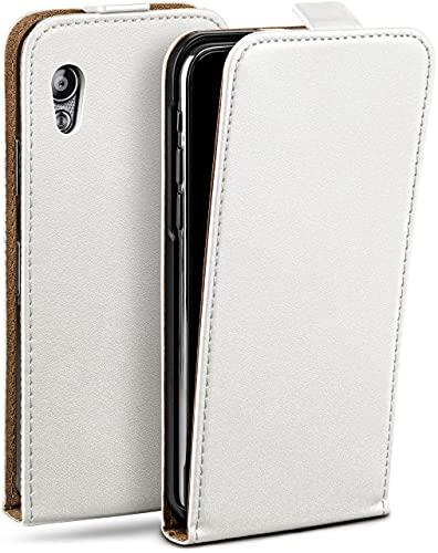 moex Flip Hülle für Samsung Galaxy Ace Hülle klappbar, 360 Grad R&um Komplett-Schutz, Klapphülle aus Vegan Leder, Handytasche mit vertikaler Klappe, magnetisch - Weiß