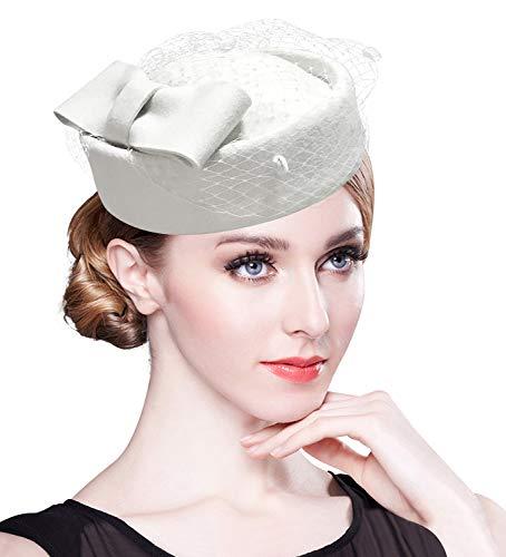 Z&X Winter Wool Fascinator British Pillbox Hat Women Wedding Church Derby Beret Hat Veil Bow Fedoras Ivory White