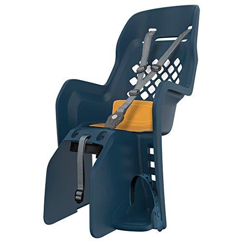 P4B | Fahrrad Kindersitz - Gepäckträgermontage hinten | Bis max. 22 Kg | Kinderfahrradsitz für 9 Monate - 5 Jahre | Für Fahrräder mit 26-29 Zoll | (Denim/Yellow)