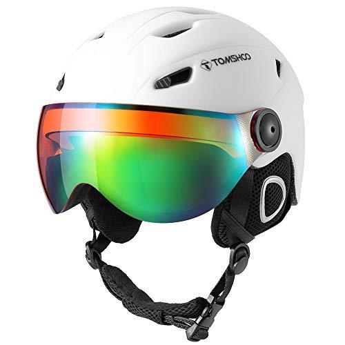 TOMSHOO Casco de esquí, Casco de Seguridad Certificado Esquí Profesional Snowboard Casco de Deportes de Nieve Orejera Desmontable Gafas integradas/Sin Gafas