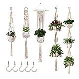 Juego de 5 macetas colgantes de macramé, decoración bohemia, para colgar plantas, decoración de pared
