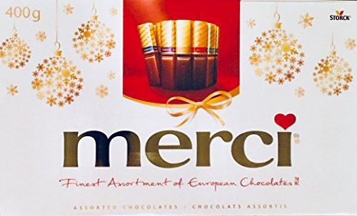 Merci Finest Assortment of European Chocolates. 400grams / 14.1 ounces . 32 pieces of individually wrapped Fine European Chocolates