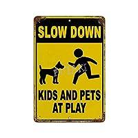 遊びで子供とペットを遅くする さびた錫のサインヴィンテージアルミニウムプラークアートポスター装飾面白い鉄の絵の個性安全標識警告アニメゲームフィルムバースクールカフェ40cm*30
