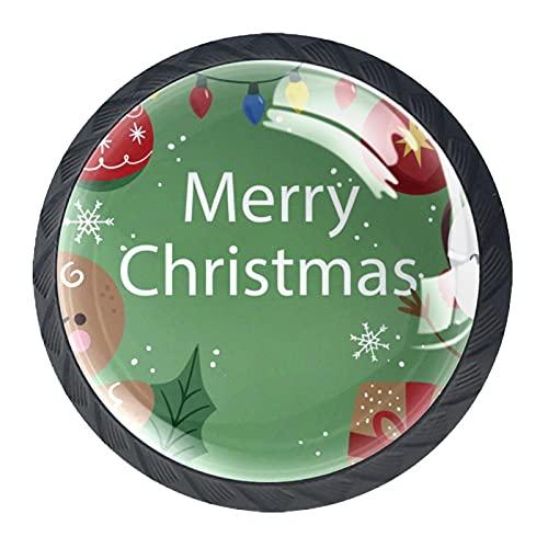 Juego de 4 pomos y asas para armario de cocina, diseño de muñeco de nieve con texto en inglés 'Merry Christmas'