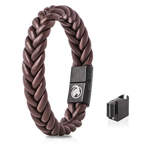 Steinbock7 Männer Lederarmband geflochten Magnetverschluss – Armband aus Leder in Geschenkbox (Braun)