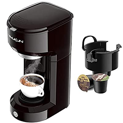 Single Serve Coffee Maker Coffee Brewer Compatible with K-Cup Single Cup Capsule with 6 to 14oz Reservoir, Mini Size (Black)