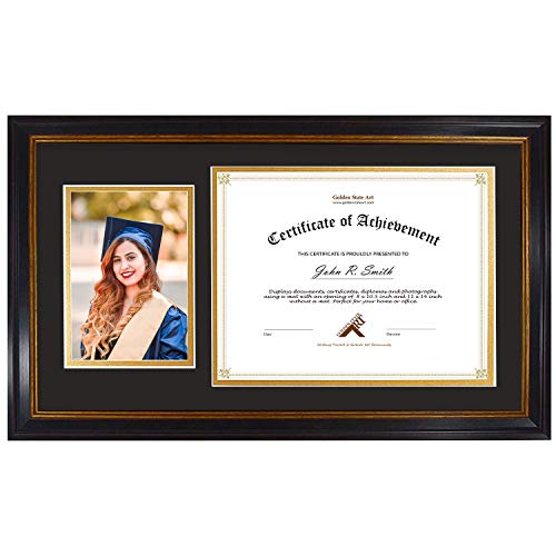 Golden State Art, for 8.5x11 Certificate & 5x7 Picture, Diploma Photo Frame, Color: Black with Burgundy & Gold Trim. Includes Black/Gold Double Mat and Real Glass