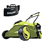 """Sun Joe MJ401C, 14 inches, Green 15 POWERFUL: Perfect for small to medium lawns, battery-powered mower's durable steel blade cuts a crisp 14"""" wide path with precision in a single pass PERFORMANCE: The 28 V 4 Ah rechargeable lithium-ion battery for up to a quarter acre of continuous mowing per charge ADJUSTABLE DECK: Tailor cutting height with 3-position manual height adjustment"""