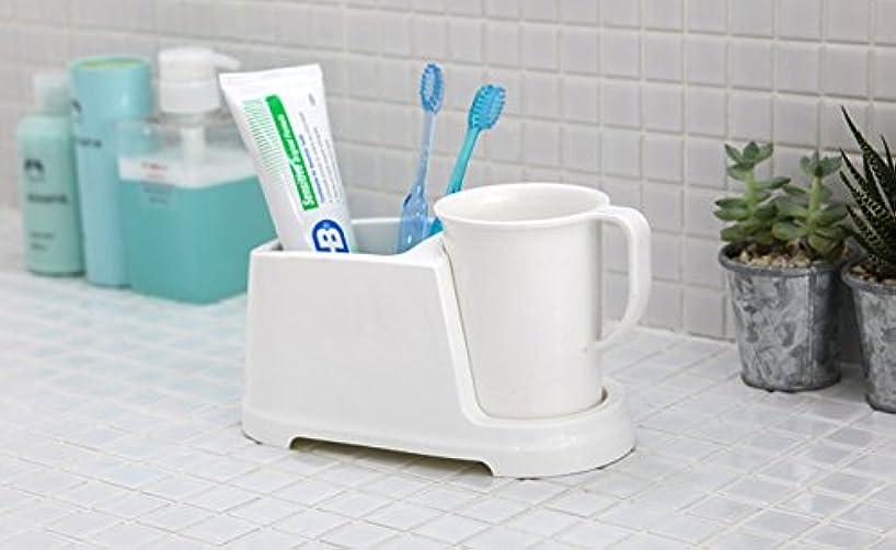 メキシコエンジンブームTenby Living歯ブラシホルダー+ Rinse Cup、クリーンおよび現代デザイン、ホワイト