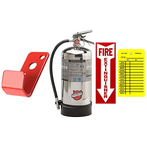 Kitchen Fire Extinguisher Buckeye Stainless Steel 6 Liter Wet Chemical Class K Fire Extinguisher Kitchen with Wall Mount, Sign and Inspection Tag
