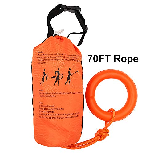Zixar Water Rescue Throw Bag with 70 Feet of Flotation Rope in 3/10 Inch Tensile Strength Rated to 1844lbs, Throwable Flotation Device for Kayaking and Rafting, Safety Equipment for Raft and Boat