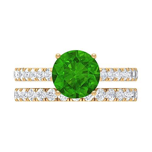 Rosec Jewels 18 quilates oro amarillo redonda round-brilliant-shape H-I Green Diamond Creado en laboratorio de tsavorita