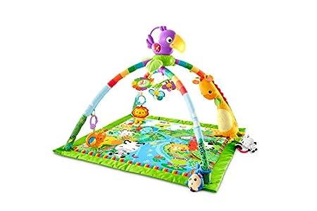Fisher-Price - Gimnasio Deluxe Animalitos de la Selva, Manta de Juego Bebé (Mattel GXC35), Embalaje sostenible