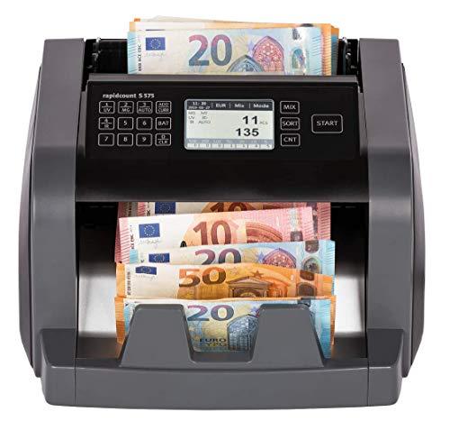 ratiotec rapidcount S 575 Banknotenzählmaschine für kleine bis mittlere Zählvolumen (für gemischte Banknoten, Echtheitsprüfung, Additionsfunktion, Währung: Euro)