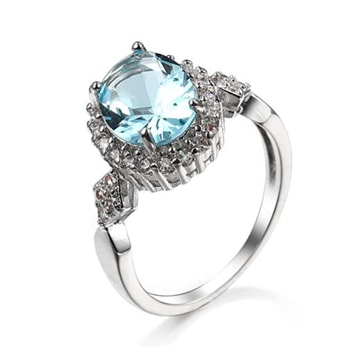 XLOOYEE Joyería de Zircon de Cristal Anillo Anillo de joyería de Plata para Novia Compromiso,Azul