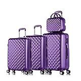 3Pcs Spinner Abs Maleta de Viaje Set Hardside Trolley Case Juegos de Equipaje para Mujeres Dark Purple a Set