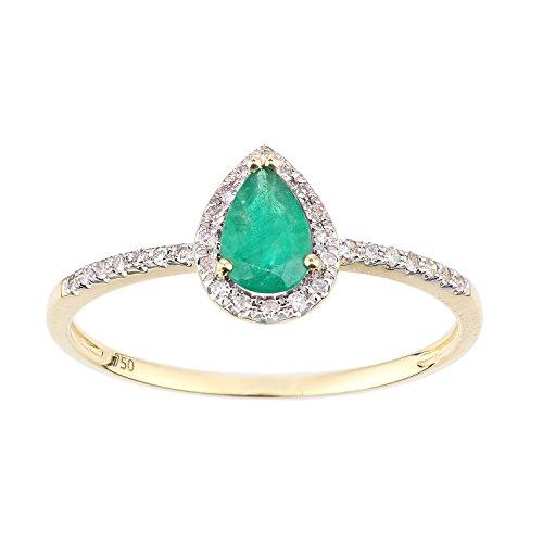 Naava Women's 18ct Yellow Gold Emerald and Diamond Teardrop Gemstone Ring - Size N