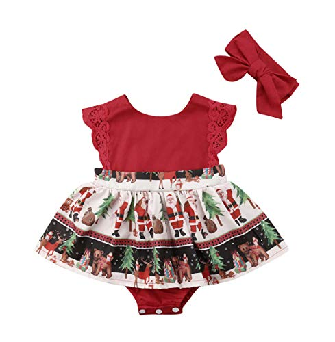 VISGOGO 2 pcs Newborn Baby Girl Christmas Romper Jumpsuit Tutu Dress Headband Outfits Clothes 0-24M (0-6 Months)