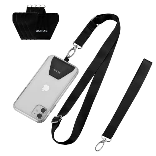 OUTXE Phone Lanyard - 4× Pads, 1× Adjustable Neck Strap, 1× Wrist Strap, Nylon Phone Lanyard Compatible with All Smartphone