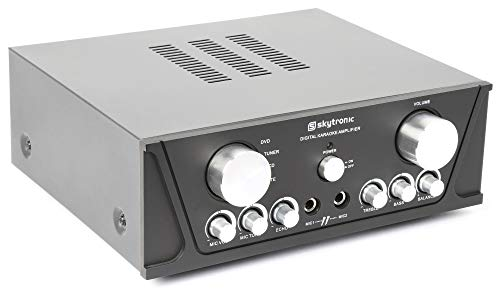 Skytronic AV410B 400W Stereo Versterker met Microfooningang en 4 Inputs voor Telefoon, DVD Speler, CD Speler, MP3 Speler voor o.a. Karaoke en Presentaties