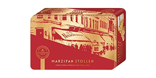 MARZIPAN STOLLEN | TRADITIONAL GERMAN CHRISTMAS BUTTER CAKE DESSERT WITH MARZIPAN & ALMONDS IN A GIFT BOX | A SPECIAL EYE-CATCHER UNDER THE CHRISTMAS TREE | 500 G | NIEDEREGGER | GERMANY
