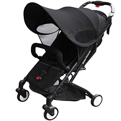 Funda universal para cochecito de bebé, para cochecito de bebé, con toldo impermeable para cochecito de bebé, mosquitera y parasol negro Negro mejorado