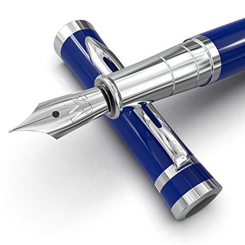Wordsworth & Black Juego de pluma estilográfica, punta mediana, incluye 6 cartuchos de tinta y convertidor de recarga de tinta, estuche de regalo, bolígrafos de escritura suave [Imperial Azul]