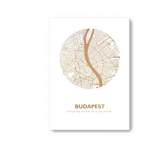 Budapest Ungarn Karte - Personaliserte Stadtplan Poster Rund in S/W Rose Gold Silber Kupfer - A4 A3 - Stilsichere Wandbilder Geschenke Arbeitszimmer Wohnzimmer Andenken Heimatstadt