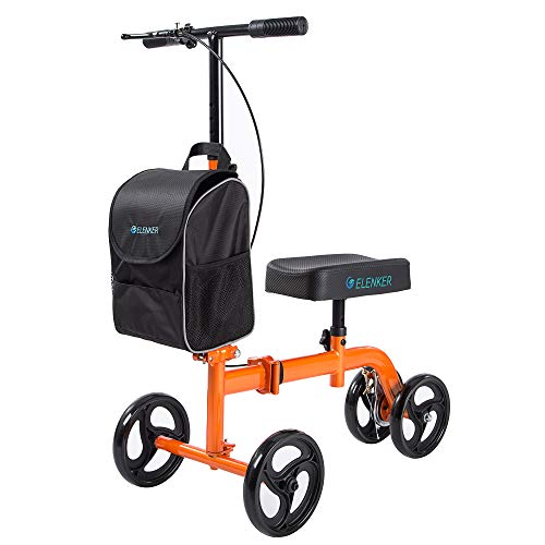ELENKER Steerable Knee Scooter for Foot Injuries Ankles Surgery with Comfortable Soft Knee Pad and Multifunctional Cloth Bag Orange