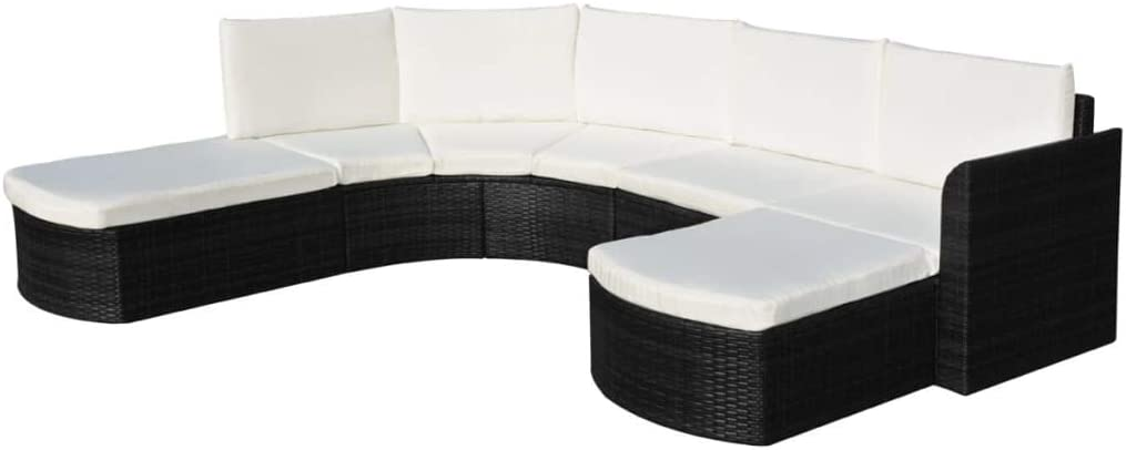 FAMIROSA 4 Piece Garden Washington Mall Lounge Max 74% OFF Set Poly Rattan with Cushions Bla