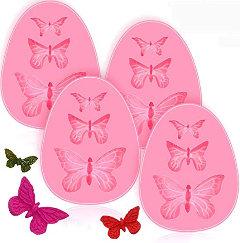 4 Pack Fondant Molds, Butterfly Silicone Fondant Mold Cake Molds Chocolate Mold Candy Cake Baking Fondant Molds, Non-stick DIY Tool for Cake Decorating