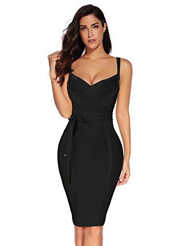 meilun Womens Rayon Belt Detail Bandage Bodycon Party Dress (XL, Black)