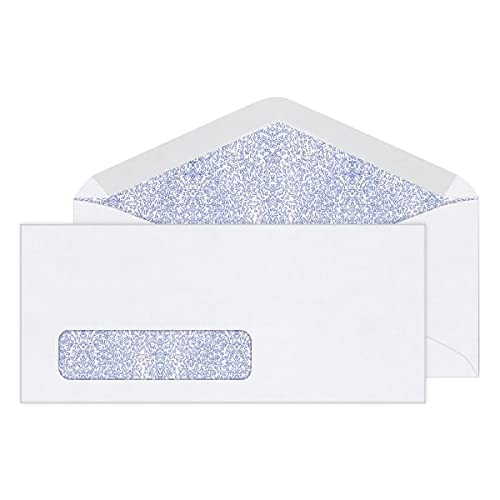 Office Depot Security Window Envelopes, 10 (4 1/8in. x 9 1/2in.), White, Box of 500, 12017