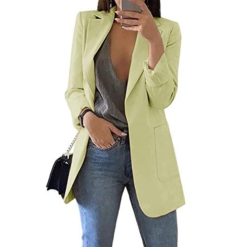 Cnkwei Womens Casual Blazers Open Front Long Sleeve Lapel Collar Work Office Jacket Green