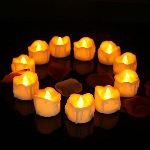 Velas LED Sin Fuego Velas LED que parpadean amarillas para hogar festivales decoración, bodas y fiestas 12 Pack