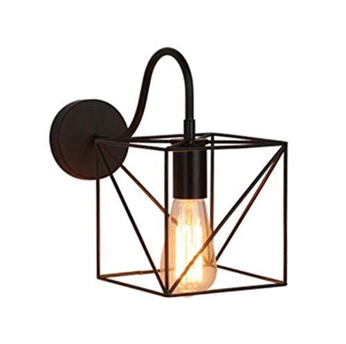 LHYLHY Luz de Pared LED Lámpara de Pared Industrial Lámpara de Pared Negro E27 Iron Pantalla de Hierro Jaula Guard Sconce Indoor Iluminación de Accesorios Bedroom (Lampshade Color : F)