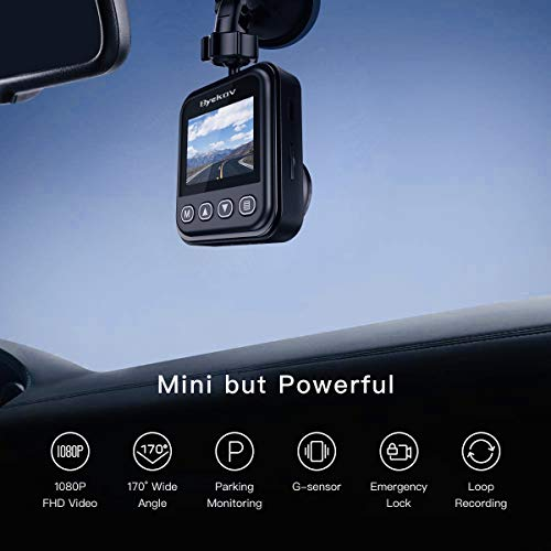 Byakov Dash Cam, 1080P Dash Camera for Cars with 170° Wide Angle, Car Camera with Night Vision, WDR, G-Sensor, Parking Monitor, Loop Recording