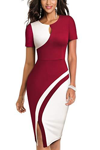 HOMEYEE Damen Vintage Hollow Out Kontrastfarbe Stretch Business Kleid B571 (XXL, Dunkelrot + Weiß)