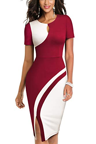 HOMEYEE Damen Vintage Hollow Out Kontrastfarbe Stretch Business Kleid B571 (XXL, Dunkelrot + Weiß)