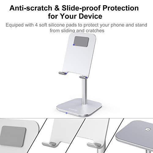 ATUMTEK Handy Ständer, Handyhalterung Alluminium Verstellbarer Handyhalter Ständer für iPhone 11/11 Pro/XS Max/XR/XS/X/8/7 Plus, iPad, Samsung, alle Tablets und Smartphones (Silber)