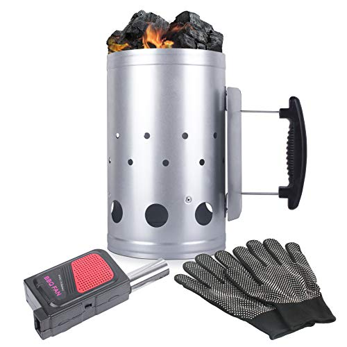 Eau Large Charcoal Chimney Starter 11x7 Inch Chimney Starter with Set Fireplace Accessories for BBQ Charcoal Grill Briquette Coal Fire Starter Chimney Quick Rapid Fire Briquette Charcoal Starter