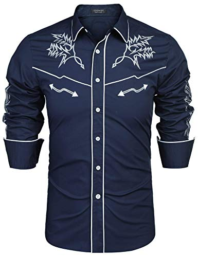 COOFANDY Men's Long Sleeve Western Cowboy Shirts Embroidery Casual Button Down Shirt,Blue,Small