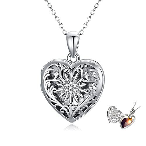 Medallón cadena de plata de ley 925 corazón collar margarita colgante medallón joyas regalo de cumpleaños para mujeres y niñas