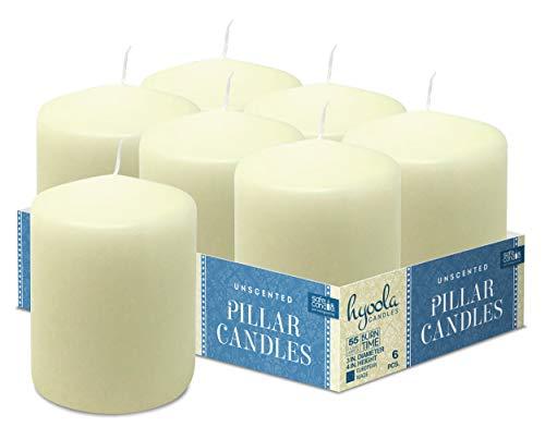Hyoola Elfenbein Stumpenkerzen 76 X 101 mm - 6 Pack - 55 Stunden Brenndauer - Unparfümiert Groß Stumpen Kerzen