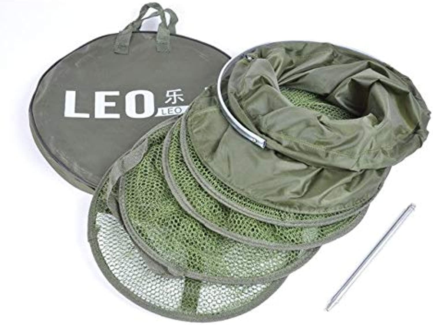 34CM  1.5M Fishing Net Cage Creel 5 Layers Collapsible Easy to Use Fish Net Cage Equipment Fishing Tackle Tools   White