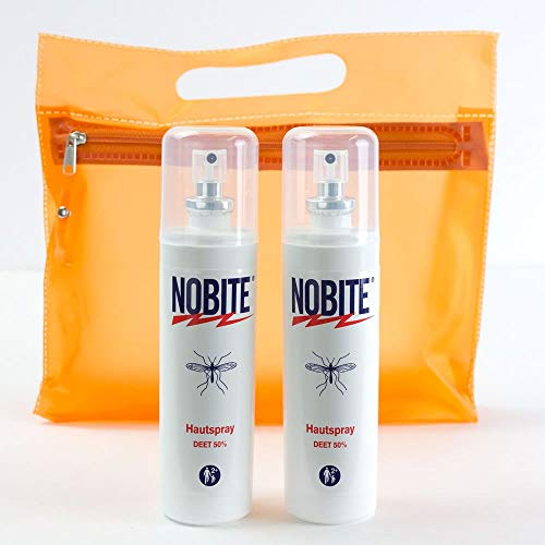 RENNER XXL Nobite Set Haut-Mücken-Spray Mückenschutz Fliegen Moskitos Insektenschutz - Insekten-Spray Doppelpack + Kulturbeutel